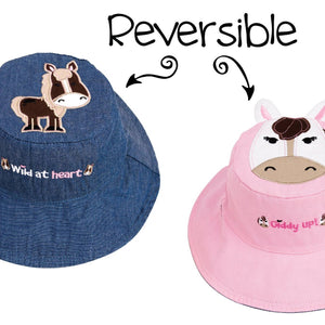 Reversible Kids' Sun Hat - Pony / Horse