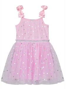 Girls Silver Pink Star Mesh Sleeveless dress WIth Bows