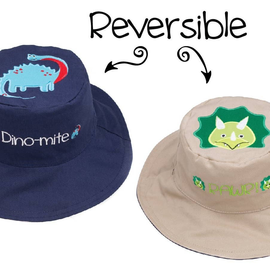 Reversible Kids' Sun Hat - Dinosaurs