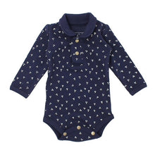 Load image into Gallery viewer, Organic Polo Bodysuit in Navy Dots