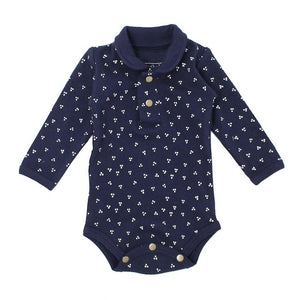 Organic Polo Bodysuit in Navy Dots