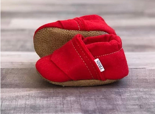 Trendy Baby Mocc Shop - Red Felt Loafers