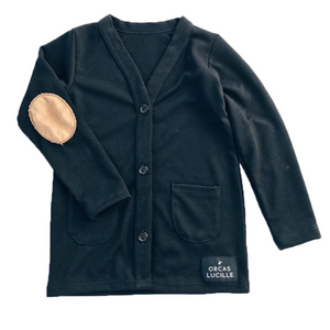 Elbow Patch Cardigan- NAVY BLUE