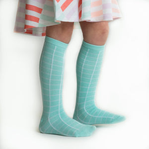 Aqua plaid Knee High