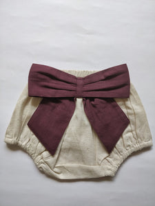 Ivory Diaper Covers with Contrast Bows in Burgundy