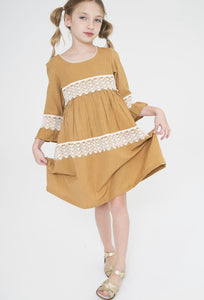 Double Lace Mustard Dress