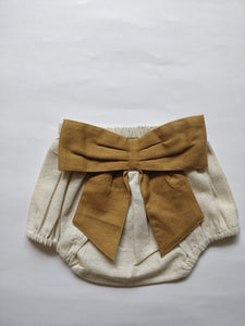 Ivory Diaper Covers with Contrast Bows in Ochre