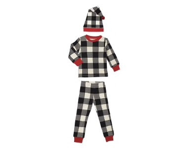 Organic Kids' L/Sleeve PJ & Cap Set in Buffalo Check