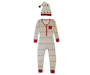Organic Women's Onesie & Cap Set in Fair Isle Reindeer