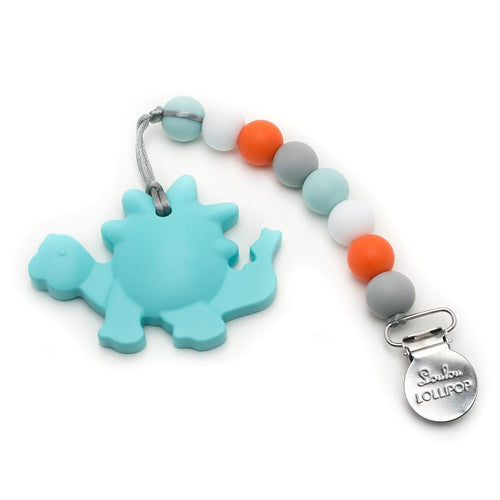Orange Dinosaur Silicone Teether with Holder Set