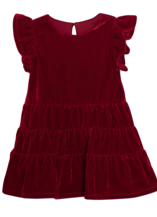 SS VELVET TIERED DRESS