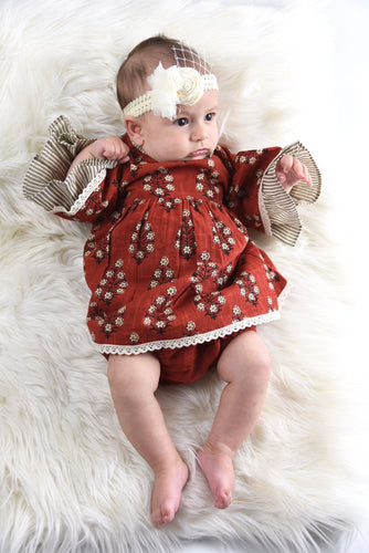 Maroon Pin Stipe Detail Flutter Sleeve Infant Dress with Matching Bloomer