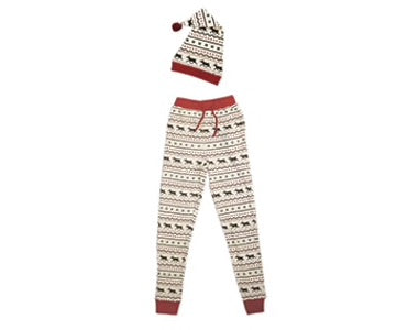 Organic Men's PJ Bottoms & Cap Set in Fair Isle Reindeer