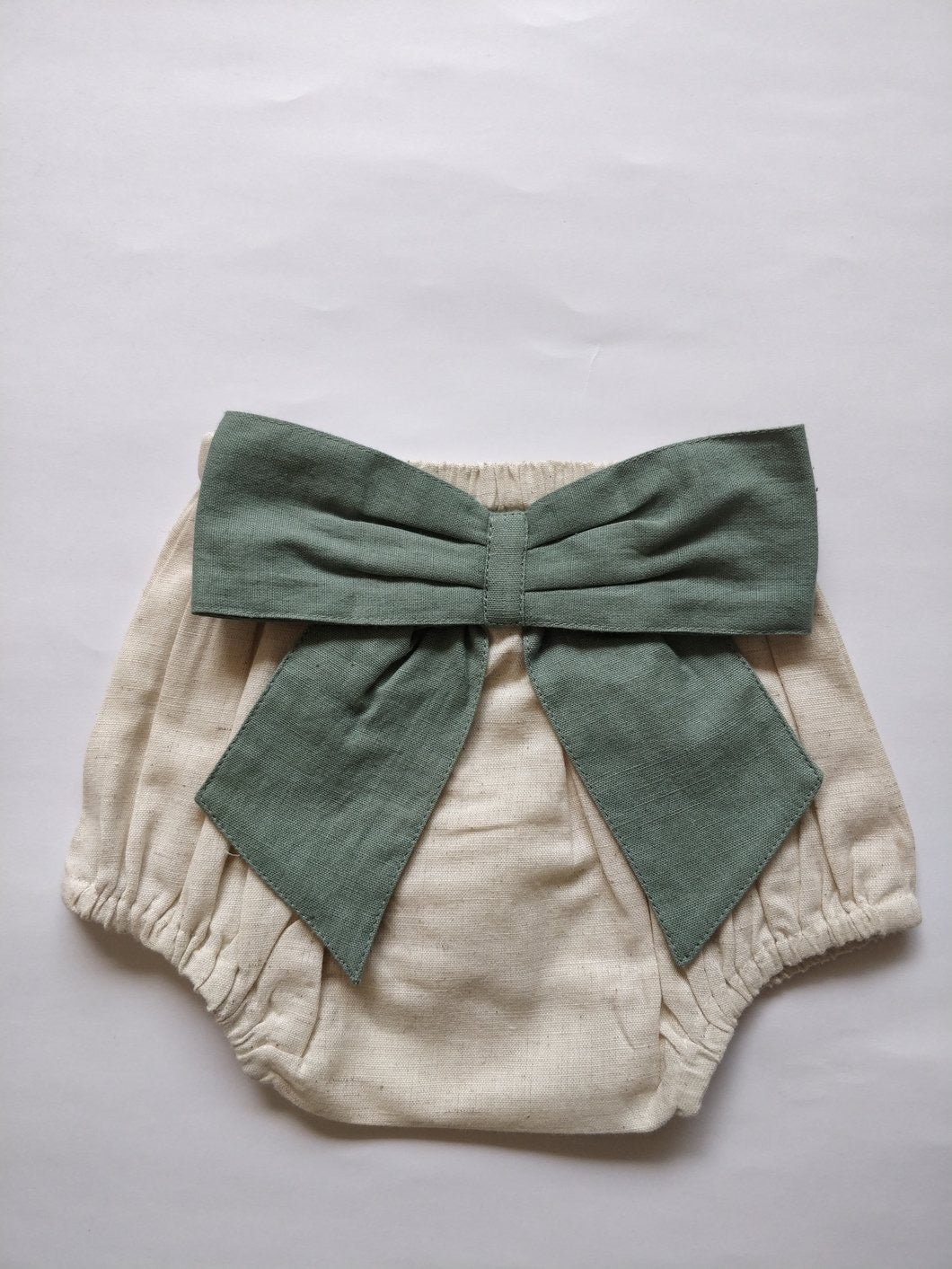 Ivory Diaper Covers with Contrast Bows in Sage