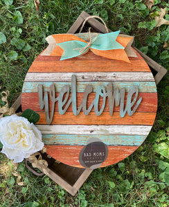 "15"" Circle And Welcome Door Hanger Wood Round Cutout"