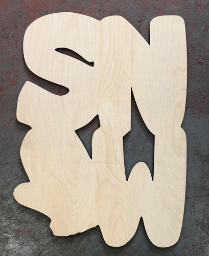"22"" SNOW With Mitten Door Hanger Wood Cutout"