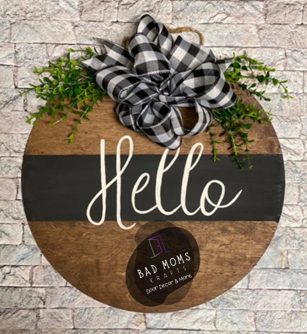 IN STOCK Hello Round Circle Door Hanger- Finished Door Hanger