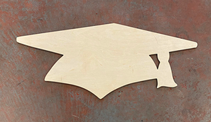"24"" x 10"" Chunky Graduation Cap Door Hanger Wood Cutout"