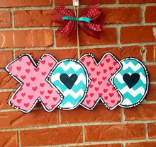 "Load image into Gallery viewer, 19"" XOXO Hugs Kisses Valentine's Day Wood Door Hanger Cut Out"