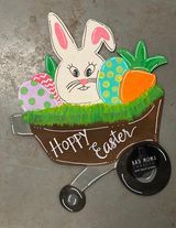 "Load image into Gallery viewer, 22"" x 18"" Easter Bunny Wheelbarrow Door Hanger Wood Cutout"