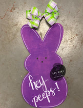 Load image into Gallery viewer, Easter Peep Bunny Wood Cut Out Door Hanger