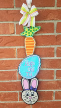 "Load image into Gallery viewer, 22"" Spring Tri Piece Carrot Egg Easter Bunny Door Hanger Wood Cut Out"