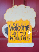 "Load image into Gallery viewer, 19"" Beer Mug Door Hanger Wood Cutout"