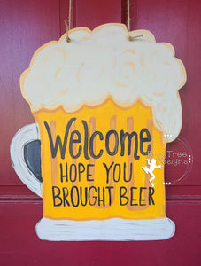 "19"" Beer Mug Door Hanger Wood Cutout"