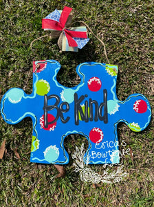 "17"" Puzzle Piece Wooden Door Hanger Cutout"