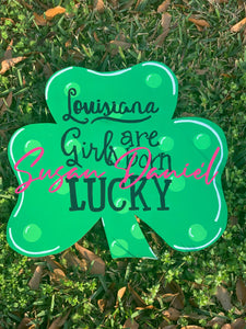 "19"" Three Leaf Clover Door Hanger Wood Cutout"