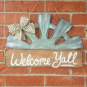 "19"" Half Windmill Wood Sign"