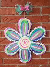 "Load image into Gallery viewer, 19"" Whimsical Flower Wood Cut Out Door Hanger"