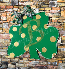"Load image into Gallery viewer, 19"" Three Leaf Clover Door Hanger Wood Cutout"