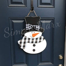 "Load image into Gallery viewer, 19"" Layered Snowman Door Hanger Wood Cutout"