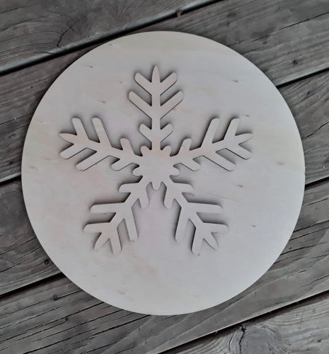 "15"" Snowflake Circle Set Door Hanger Wood Cutout"