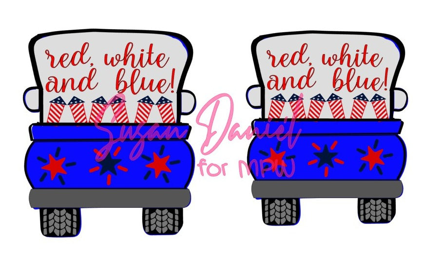 Whimsy Truck Back 4th of July SVG Cut Template- DIGITAL FILE ONLY
