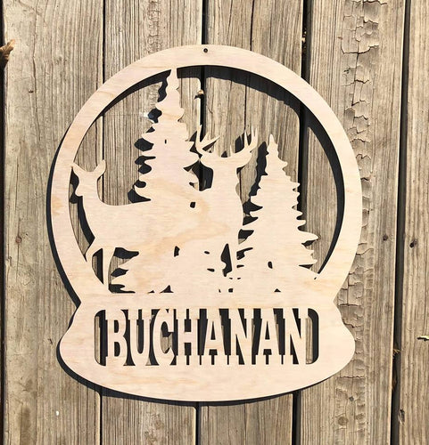 "20"" Deer Name Snowglobe Custom Wood Cut Out"