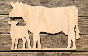 Cow and Calf Wood Cutout