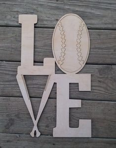 LOVE | Baseball and Bats Cutout