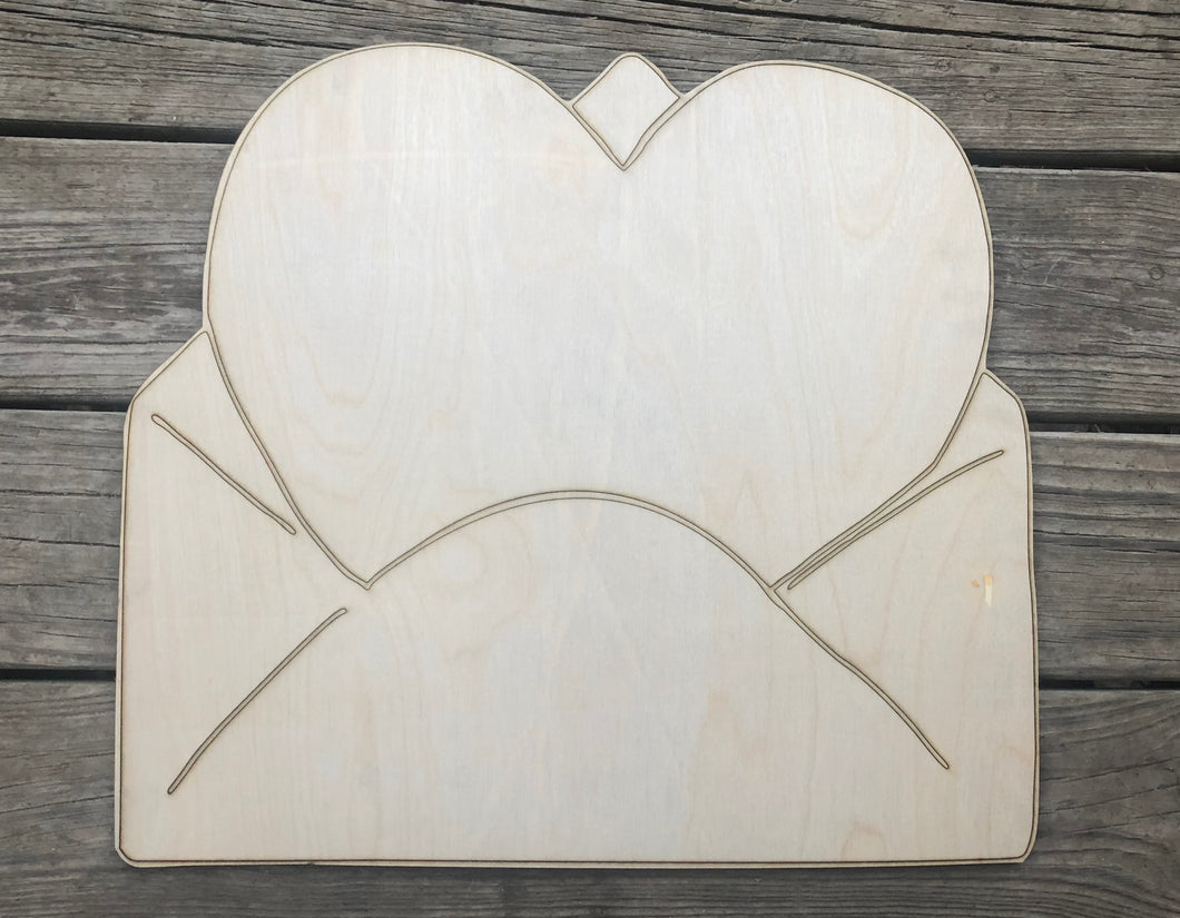 "19"" Heart With Envelope Wooden Door Hanger Cut Out"