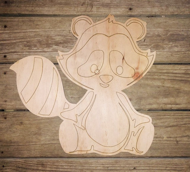 Raccoon Woodland Animal Wood Cut Out with lines
