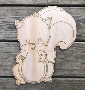 Squirrel Woodland Animal Wood Cut Out with lines