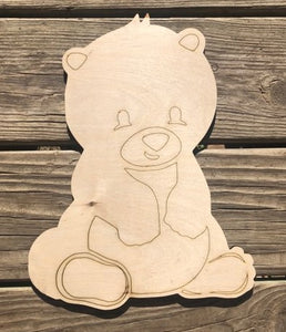 Bear Woodland Animal Wood Cut Out with lines