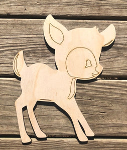 Deer Woodland Animal Wood Cut Out with lines