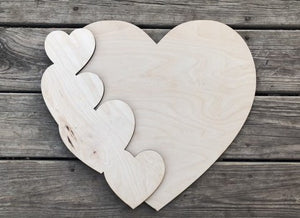 "18"" Layered Heart Wood Door Hanger Cut Out"