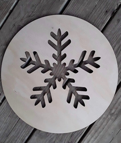"15"" Snowflake Round Door Hanger Wood Cutout"