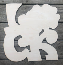 "Load image into Gallery viewer, 19"" LUCK With Clover Door Hanger Wood Cutout"