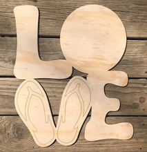 Load image into Gallery viewer, LOVE SUMMER FLIP FLOPS CUT OUT - 19""
