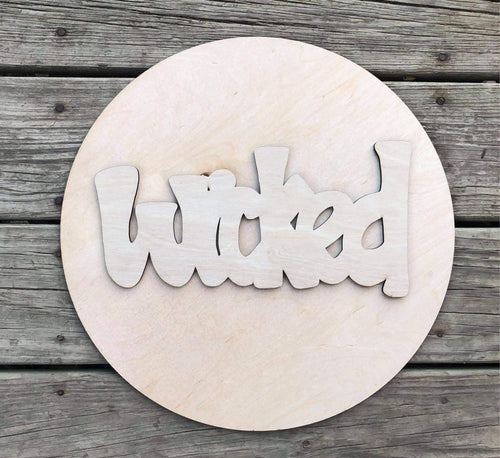 "15"" Circle and Wicked Set Door Hanger Wood Cutout"