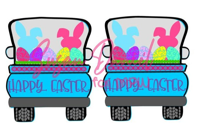 Whimsy Truck Back Easter SVG Cut Template- DIGITAL FILE ONLY